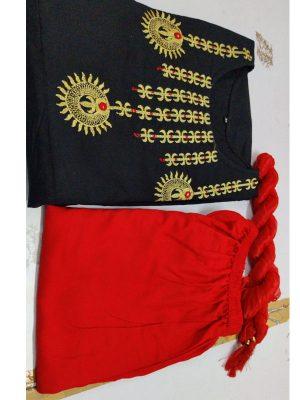 Black Embroidery Rayon Kurti Plazo Mal Mal Dupatta