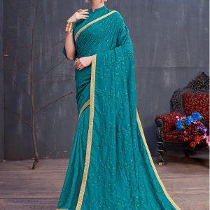 Rang Roop Teal Blue Soft Cotton Resham Embroidered Party Wear Designer Saree