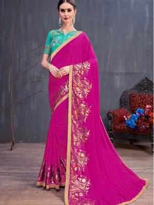 Rang Roop Dark Pink Georgette Rubber Foil & Fancy Lace Work Party Wear Designer Saree