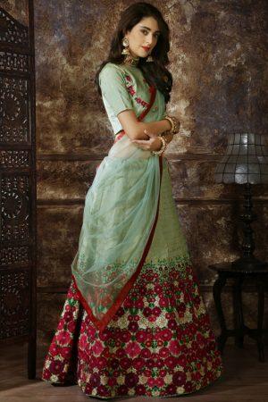 Designer Thai Silk Thread and zari Embroidered work Mint Green Festive Lehenga Choli