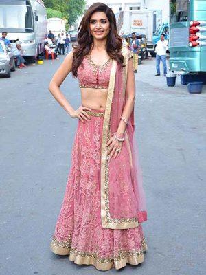 Karishma Tanna Nylon Net Pink Bollywood Lehenga