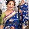 Madhuri Dixit Blue Colour Nylon Silk Foile Print Bollywood Designer Sarees