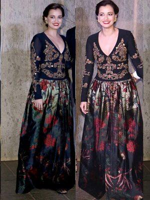 Diya Mirza Banglori Silk & Georgette Sequence & Multi Work Bollywood Gown