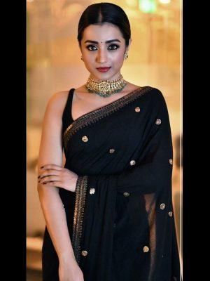 Trisha Black Colour Georgette Silk Bollywood Designer Sarees