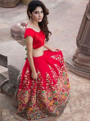 Banglori Silk Red Colour Bollywood Lehenga