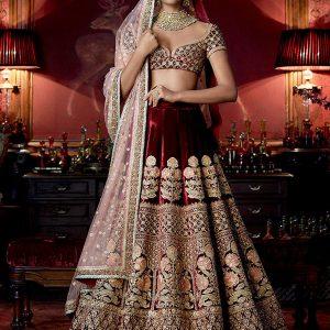 Shrutis Women'S Velvet Desirable Maroon Colour Bollywood Lehenga