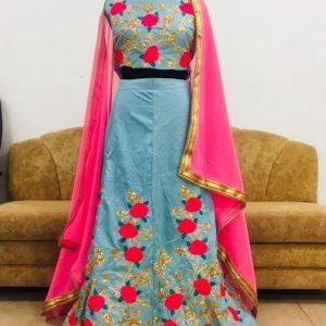 Nylon Silk Sky Blue Colour Bollywood Lehenga