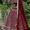 Taffeta Silk Maroon Colour Bollywood Lehenga