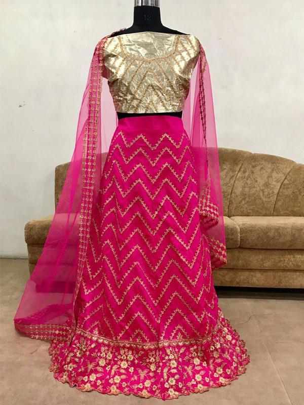 Tow Tone Soft Taffeta Silk Pink Colour Bollywood Lehenga