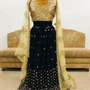 Georgette Black Colour Bollywood Lehenga