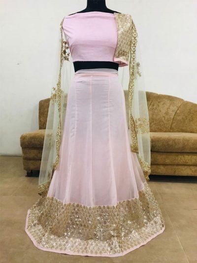 Georgette Light Pink Colour Bollywood Lehenga