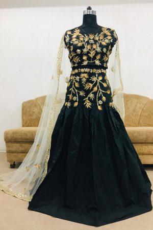 Taffeta Silk Black Colour Bollywood Lehenga