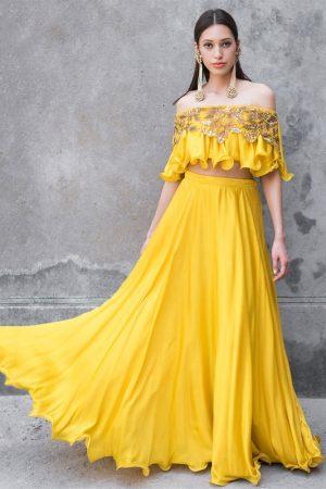 Taffeta Silk Yellow Colour Bollywood Lehenga