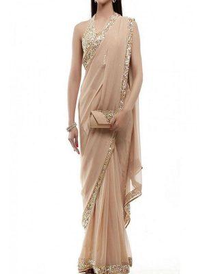 Beige Gorgette Party Wear Bollywood Designer Sarees