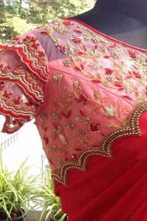 Georgette Silk Red Colour Thread Work Bollywood Sarees