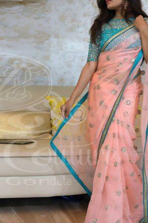 Designer Gajri Colour Nylon Net Bollywood Designer Sarees
