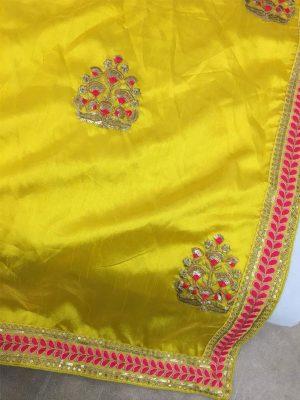 Paper Silk Yellow Colour Thread & Multi Work Bollywood Sarees