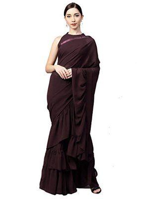 Georgette Silk Brown Colour Multi & Hand Work Bollywood Sarees