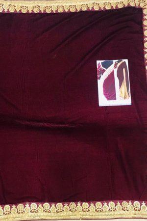 Silk Maroon Colour Thread & Multi Work Bollywood Sarees
