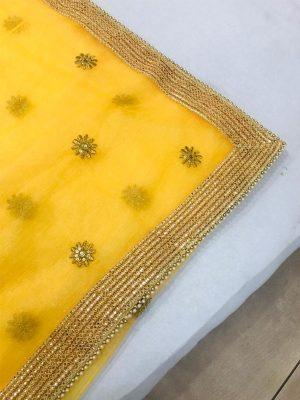 Eye-Catching Yellow Colour Pure Organza Silk Bollywood Designer Sarees