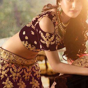 Wedding Breathtaking Banglory Silk Purple Colour Bollywood Lehenga