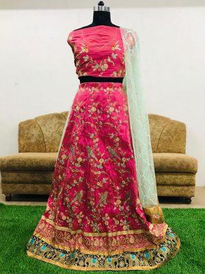 Malbari Silk Pink colour Bollywood Lehenga