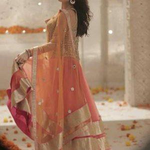 Katrina Kaif Mango Queen Row Silk And Net Orange Bollywood Lehenga