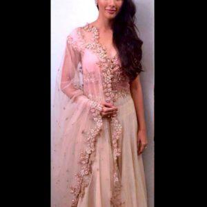 Pooja Hegde Baby Pink Bollywood Lehenga
