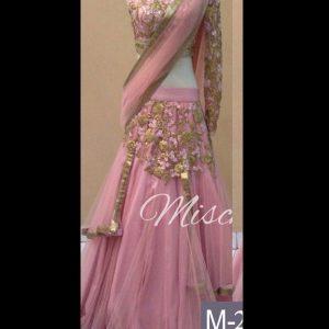 Designer Georgette & Net Pink Colour Bollywood Lehenga