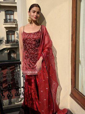 Buy New Alia Bhatt Maroon Celebrity Wear Sharara Pattern Dress