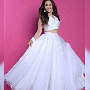 Buy online Madhuri Dixit White Celebrity Wear Lehenga Choli
