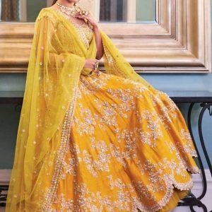 Buy online Sonakshi Sinha Celebrity Wear Premium Tapeta Silk Zari And Dori Embroidery Work Lehenga Choli