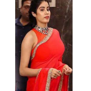 New Red Jhanvi Kapoor Celebrty Wear Saree