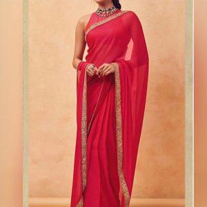 Letest Janhvi Kapoor Tamoto Red Celebrity Wear Saree