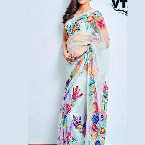 Buy New Kriti Sanon Sky Blue Beautiful Thread Work Saree