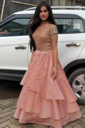 Letest Jannat Rehmani Peach Tafeta Silk Gown