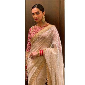 Buy online Deepika Padukone Georgette Celebrity Wear Saree