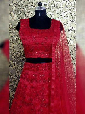 New Sara Ali Khan Red Embellished Celebrity Wear Lehenga Choli