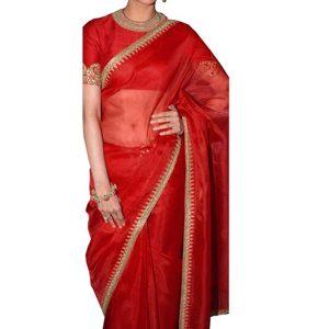 Kajal Agarwal Satin Chiffon Georgette Red Bollywood Saree
