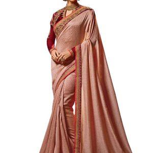 New Arrival Silk Peach Bollywood Replica Saree