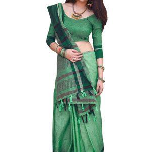 New Arrival Cotton Silk Dark Green Replica Saree