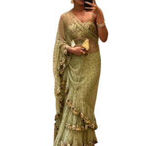 Latest Mono Net Green Fancy Replica Saree
