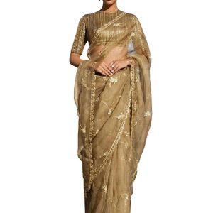 New Arrival Pure Silk Golden Replica Saree
