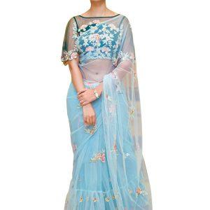New Arrival Net Sky Blue Bollywood Replica Saree