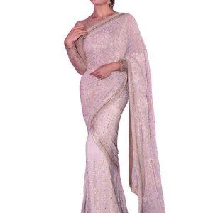 Jacqueline Georgette Off White Bollywood Replica Saree