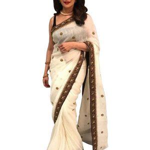 Madhuri Dixit Chanderi Silk White Replica Saree