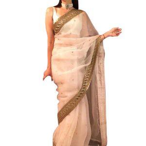 Karishma Kapoor Chanderi Silk White Bollywood Saree