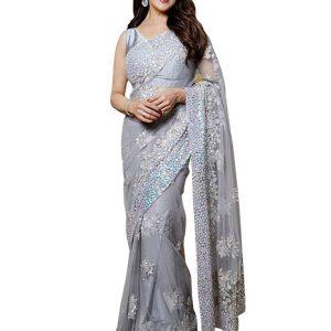 Madhuri Dixit Net Gray Replica Saree