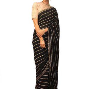 Karishma Kapoor Georgette Black Replica Saree