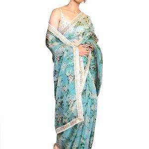 Kangna Silk Sky Blue Printed Replica Saree